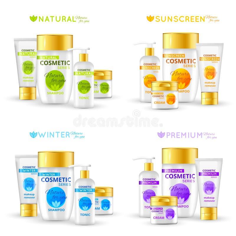 Kosmetische Reihe Verpackungsgestaltungs- stock abbildung