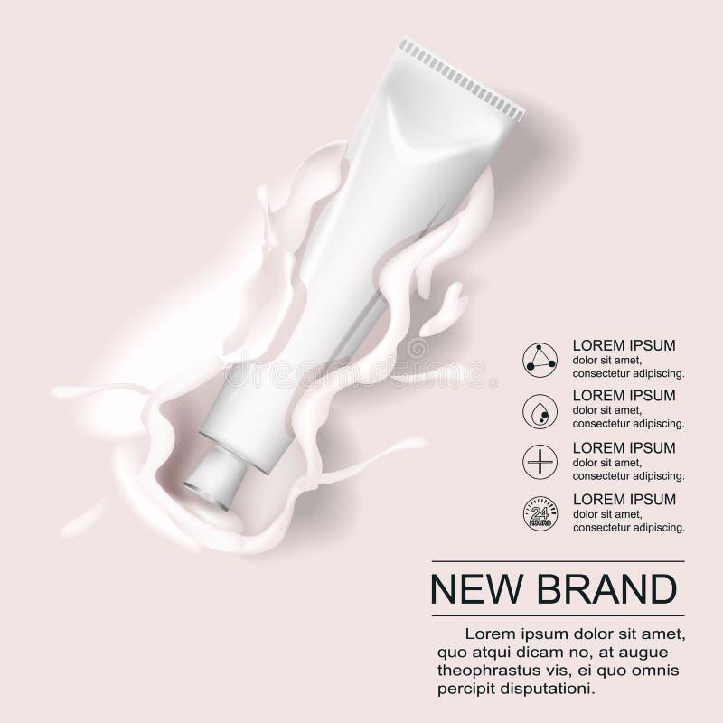 Kosmetische room in buis reclame Van de de emulsieroom van de make-uphuid hydro de buis witte en gouden kleur op melkwit stock illustratie