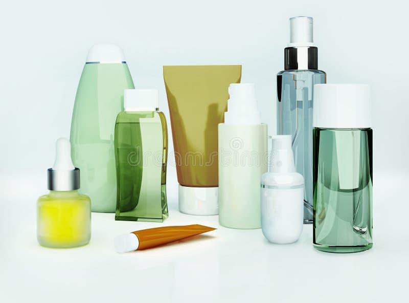 Kosmetische room, huidzorg en parfum op grijze achtergrond close-up royalty-vrije stock foto