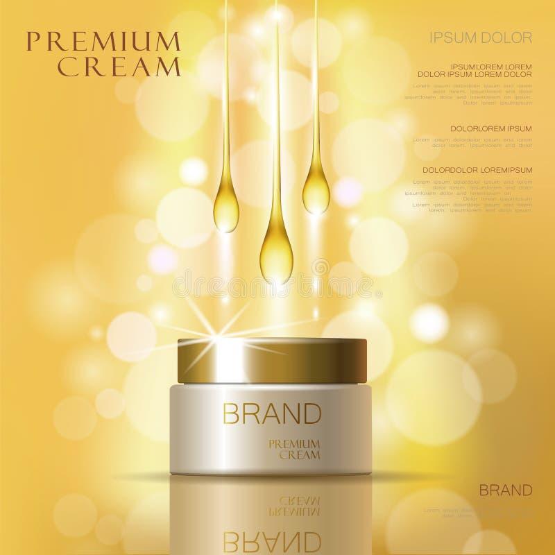 Kosmetische Sahnehautpflegeanzeigen des goldenen Öls Illustrations-Vektorillustration der Schablone 3d realistische Befeuchtende  lizenzfreie abbildung