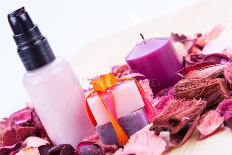 Kosmetische Schönheitsgegenstände Aroma Wellness stockfoto