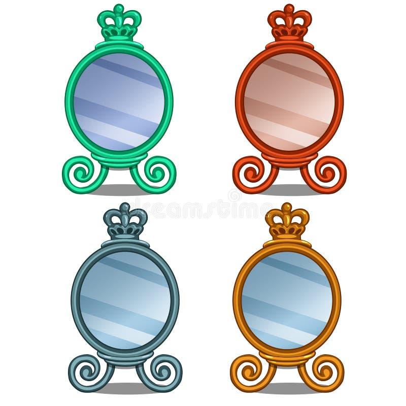Kosmetische spiegel met kroondecoratie in beeldverhaal royalty-vrije illustratie