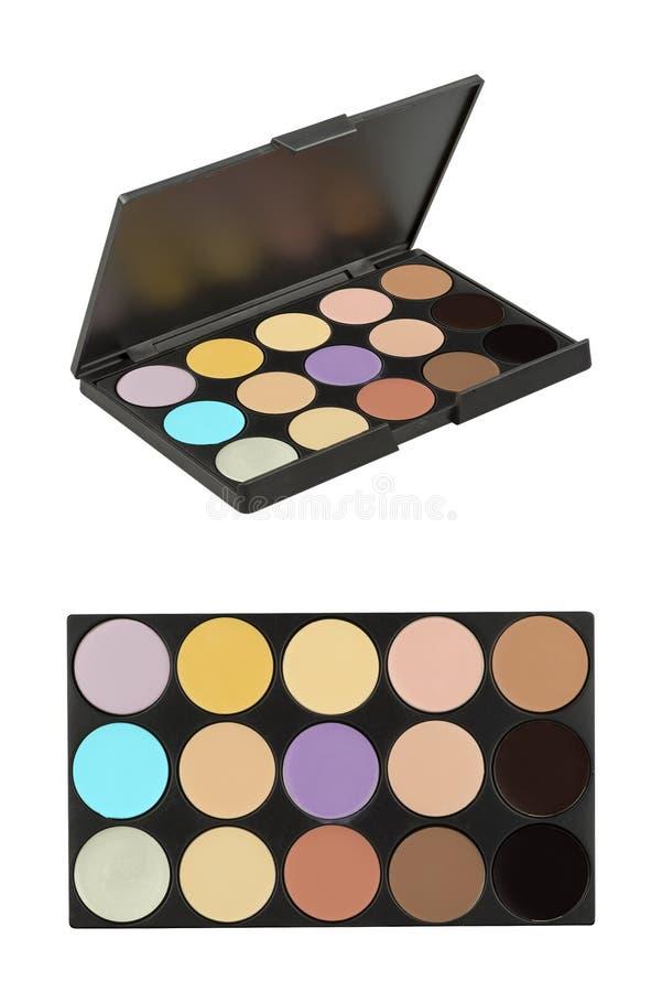 Kosmetische stevige oogschaduw grote reeks, product in slanke zwarte doos en hoge die resolutieschaduwen, schoonheidsproducten op stock afbeeldingen