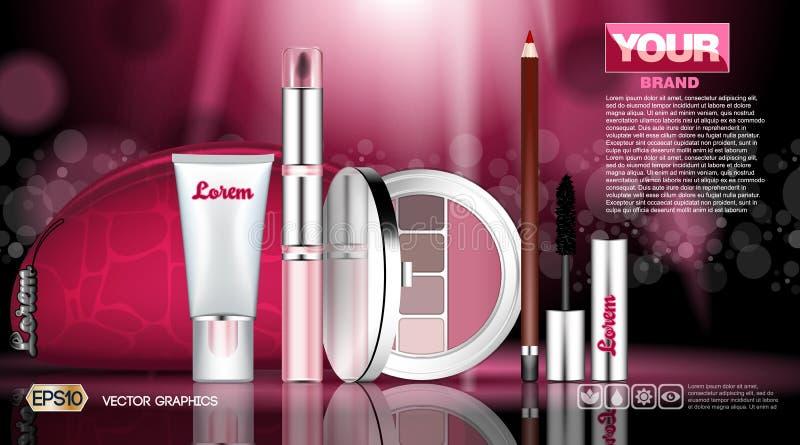 Kosmetische vastgestelde advertentiesmalplaatje, mascara en oogschaduwwen, de dekkingsmodel van de lippenstiftinzameling Roze geu vector illustratie