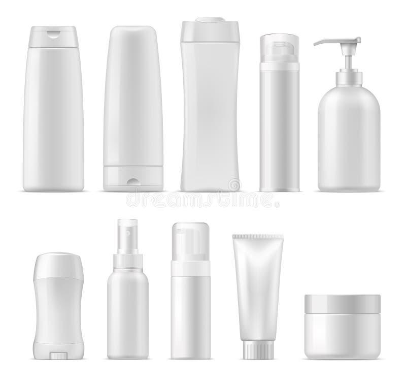 Kosmetische vector plastic pakketmodellen vector illustratie