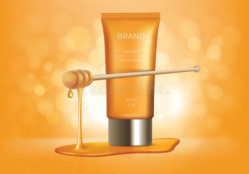 Kosmetische vectorachtergrond met honingsdruppels royalty-vrije illustratie