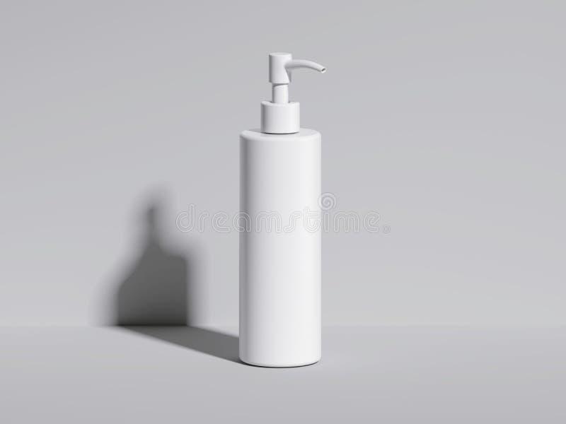 Kosmetische witte fles in heldere studio het 3d teruggeven royalty-vrije illustratie
