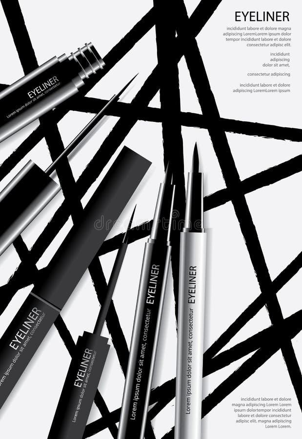 Kosmetischer Eyeliner mit Verpackungs-Plakat-Design vektor abbildung