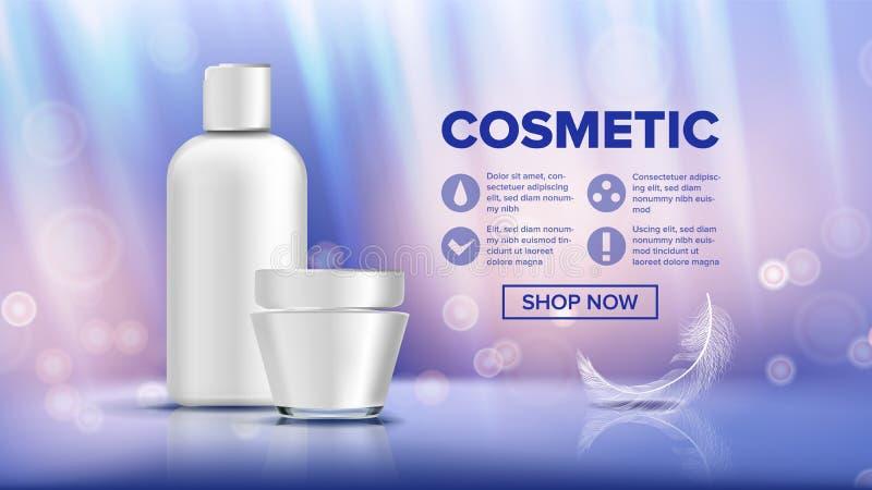 Kosmetischer Flaschen-Anzeigen-Vektor Lotion, Gel ERSTKLASSIGES PRODUKT Förderungs-Element Zutreffen des transparenten Lacks real stock abbildung
