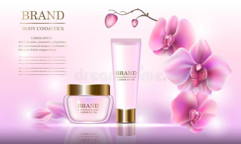 Kosmetischer Schönheitssatz Creme für den Körper für Hautpflege mit Orchideen auf einem rosa Hintergrund Schablone für Fahnen, Se lizenzfreie abbildung