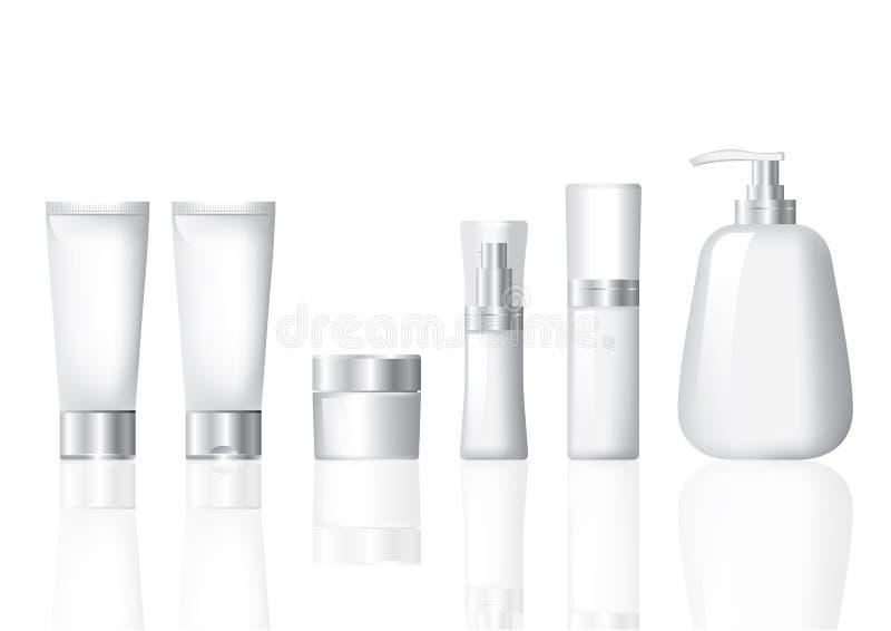 kosmetischer Silbersatz des Pakets lizenzfreie stockbilder