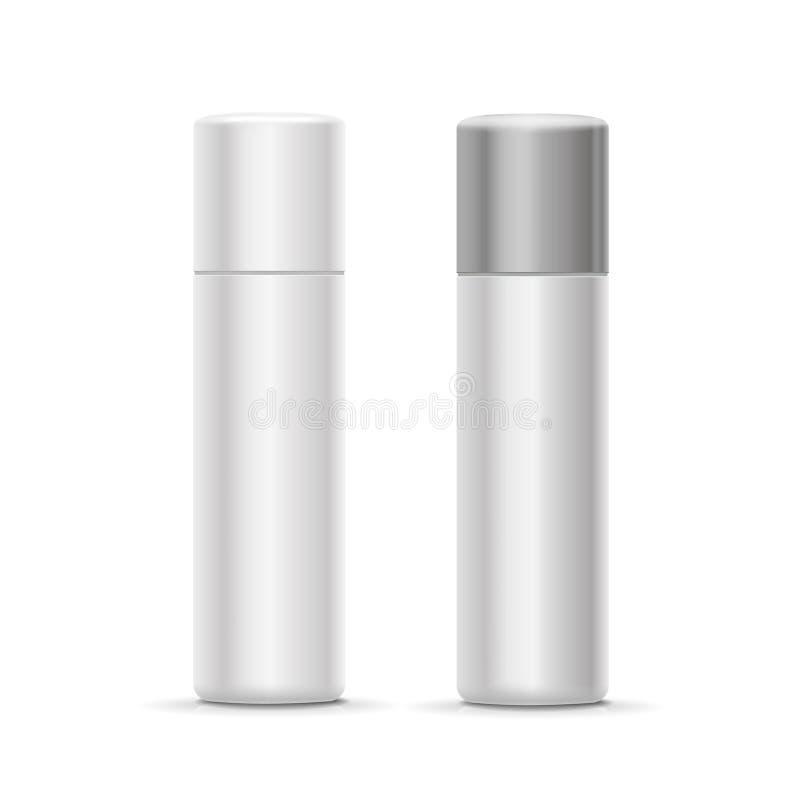 Kosmetisches desodorierendes Mittel des weißen und silbernen Flaschensprays für Parfüm, Erfrischungsmittel oder Haarspray stock abbildung