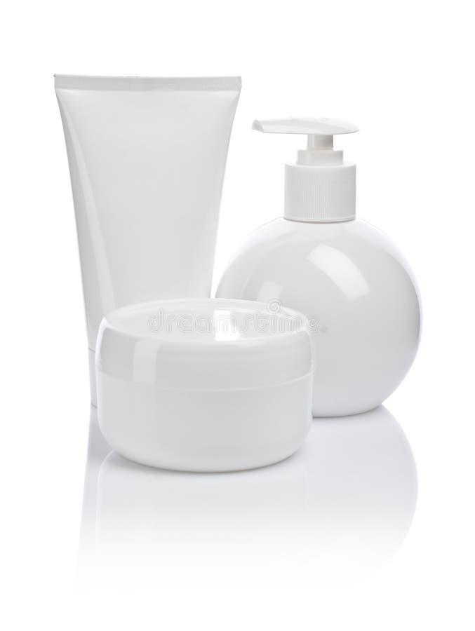 Kosmetisches Gefäß und Spray lizenzfreie stockfotos