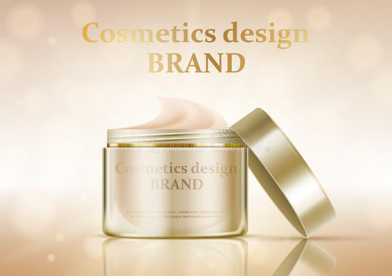 Kosmetisches Glas mit Sahne auf einem Goldhintergrund lizenzfreie abbildung