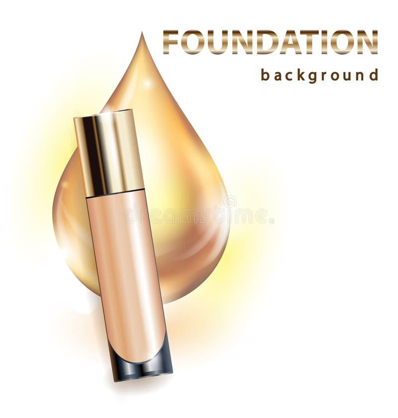 Kosmetisches Produkt, Grundlage, Abdeckstift, Creme Schöne Flasche mit einem Tropfen von Goldenem Schablonen-Vektor vektor abbildung