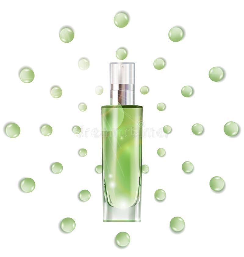 Kosmetisches Produkt, Lotion, Pflanzenöl, Naturkosmetik Schöne Flasche mit mit Tropfen Vektor vektor abbildung