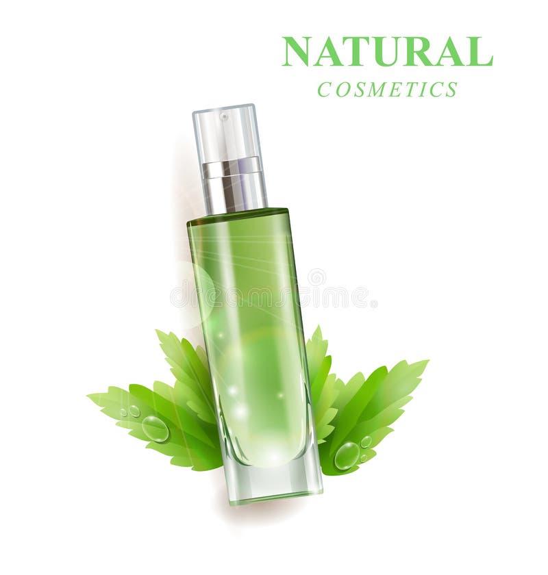 Kosmetisches Produkt, Lotion, Pflanzenöl, Naturkosmetik Schöne Flasche mit mit Tropfen Vektor stock abbildung