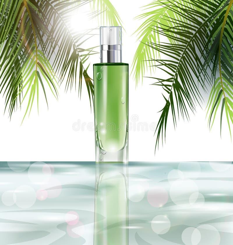 Kosmetisches Produkt, realistisches Rohrmodell für Lotion, Gel, auf einem Hintergrund des Wassers und der Blätter der Palmen Vekt stock abbildung