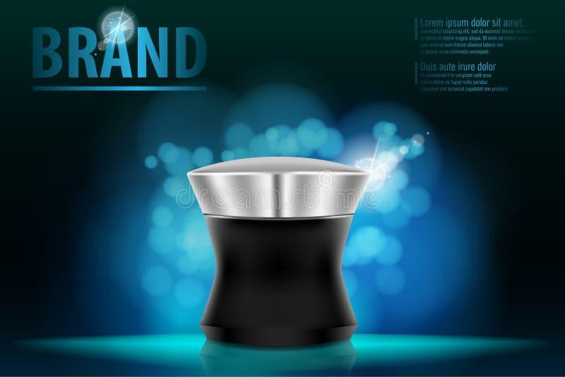 Kosmetisches ProduktVerpackungsgestaltungskonzept für erstklassige Marke im dunkelblauen bokeh stock abbildung