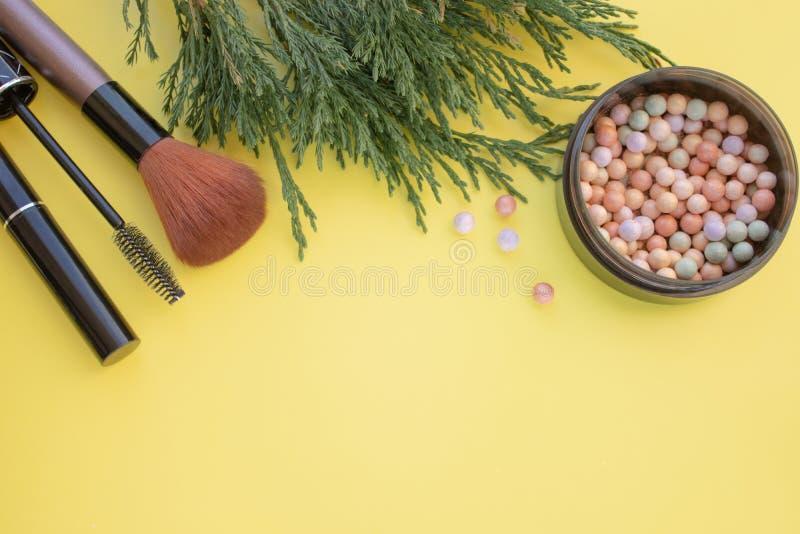Kosmetisches Zubehör Bürsten Sie, erröten Sie, Lippenstift, grüne Niederlassungen auf einem gelben Hintergrund stockfoto