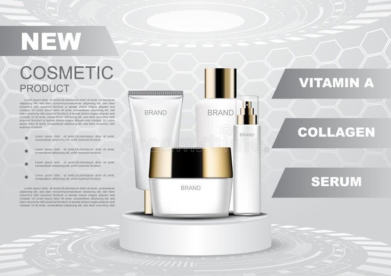 Kosmetisk affisch, uppsättning för hudomsorg på futuristisk podiummall stock illustrationer