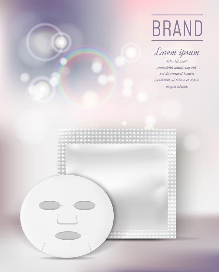 Kosmetisk arkmaskering Tom folie eller plast- påse för mediciner på färgbakgrund med bokeheffekt stock illustrationer