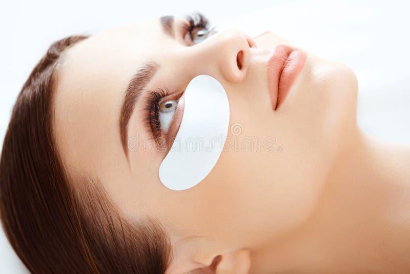Kosmetisk behandling. Kvinnaöga med långa ögonfrans. royaltyfria foton