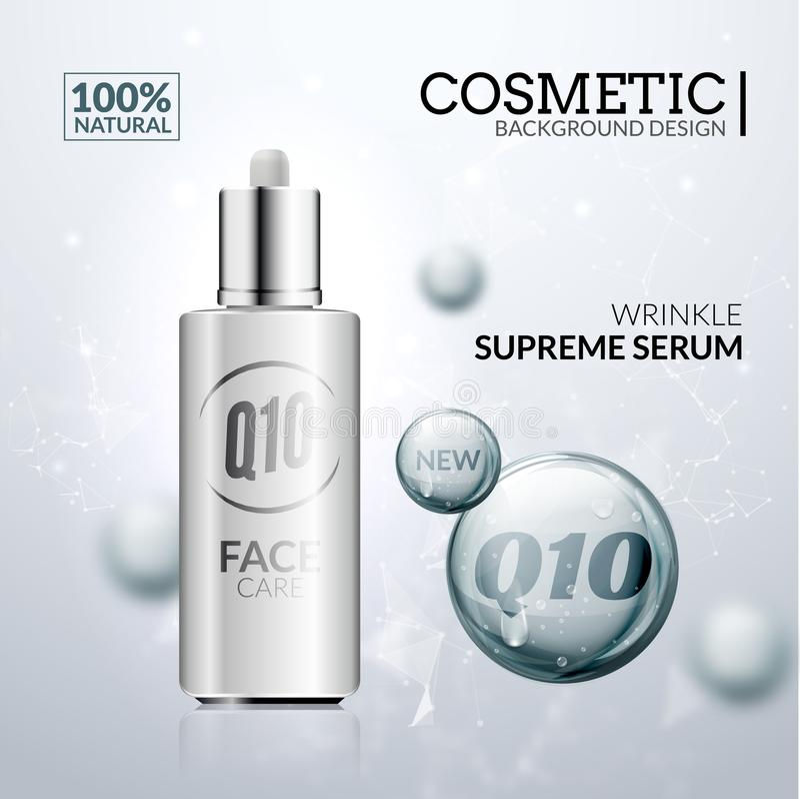 Kosmetisk collagenlösning Design för extrakt för serum för hudomsorg Hyaluronic behandling för framsidaskönhet royaltyfri illustrationer