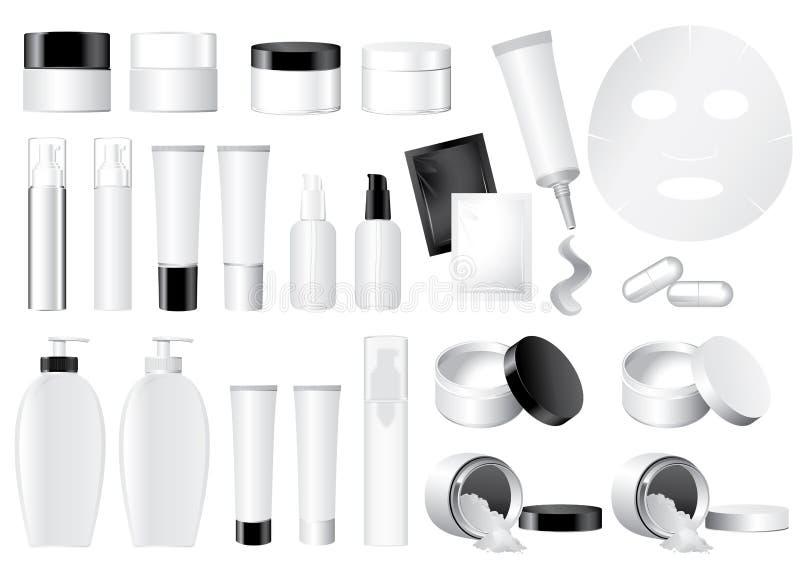 kosmetisk falsk vektor för behållare stock illustrationer