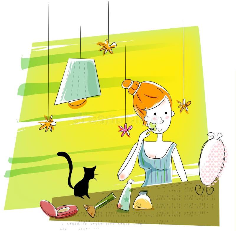 kosmetisk flicka vektor illustrationer