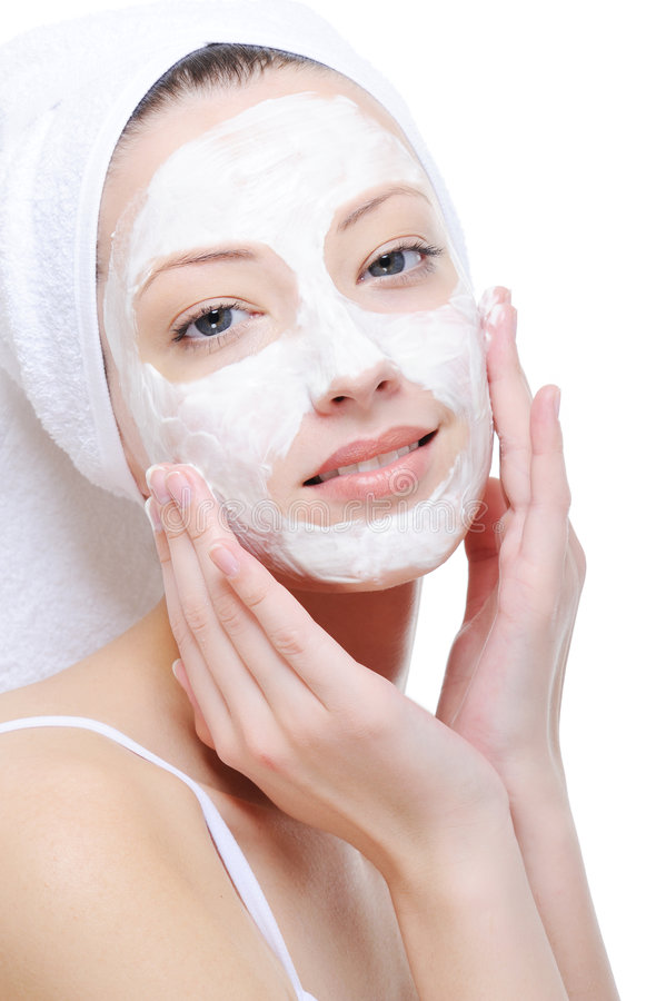kosmetisk görande maskeringskvinna royaltyfria bilder