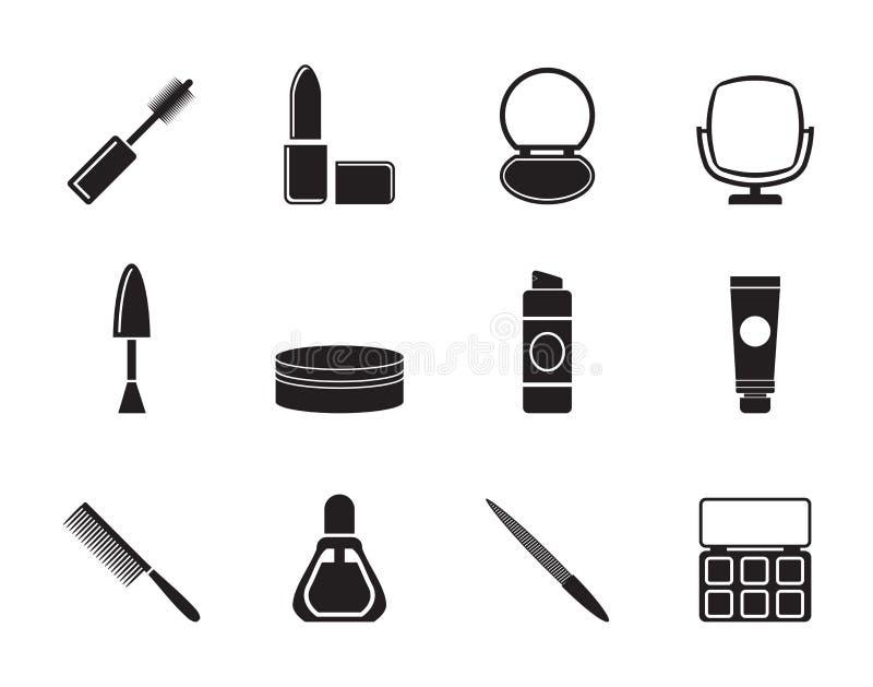 Kosmetisk kontur och sminksymboler stock illustrationer