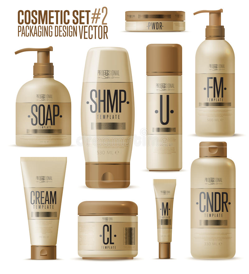 Kosmetisk märkesmall Realistisk flaskuppsättning stock illustrationer