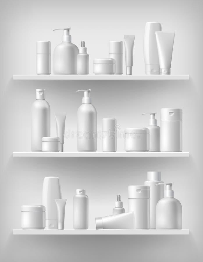 Kosmetisk märkesmall Realistisk flaskuppsättning royaltyfri illustrationer