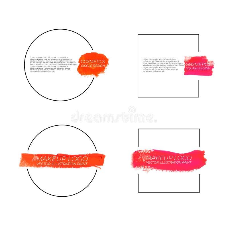Kosmetisk makeup Logo Templates för vektor: Målarfärgsudd i fyrkant- och cirkelformer royaltyfri illustrationer
