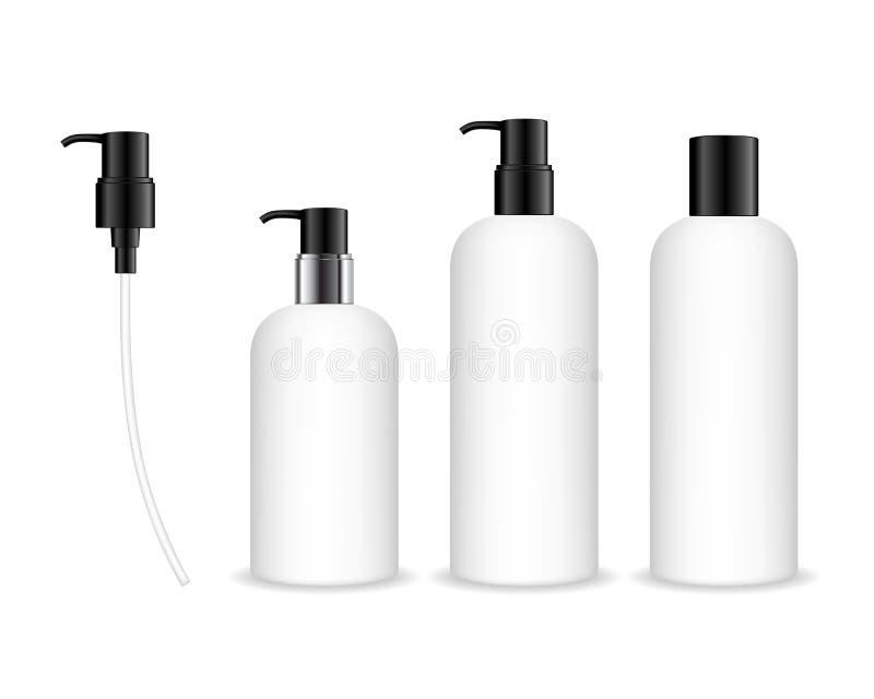 Kosmetisk plast- flaska med den svarta utmatarepumpen stock illustrationer