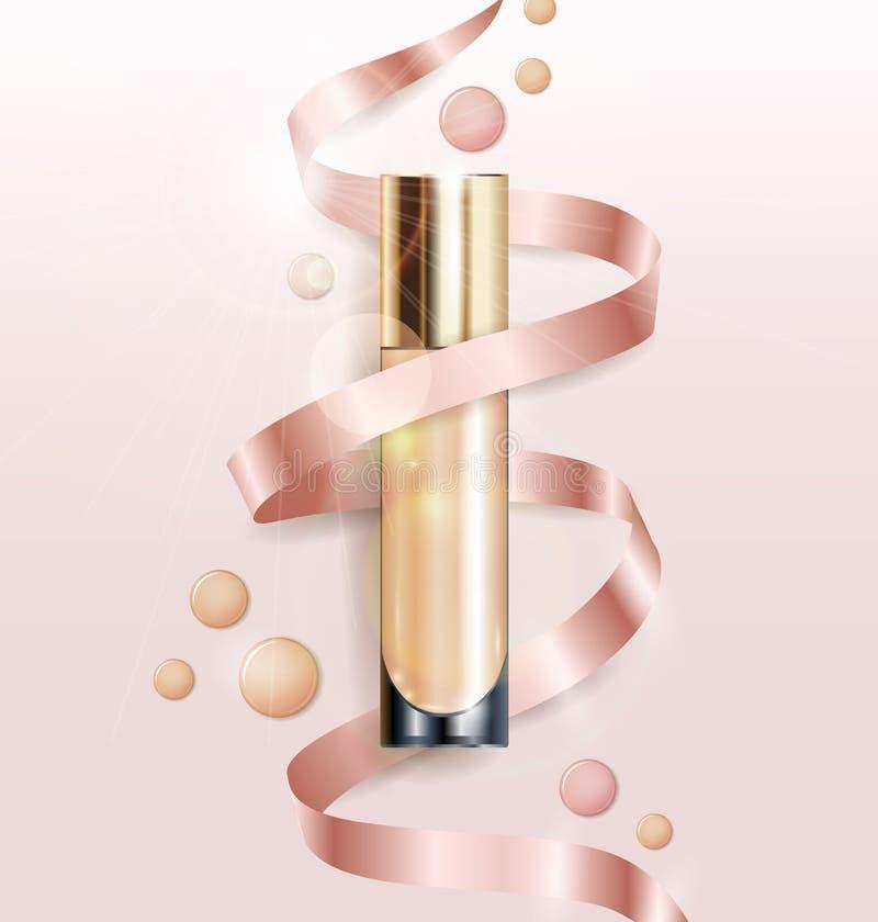 Kosmetisk produkt, fundament, täckstift, kräm Kosmetisk produkt, täckstift, korrigerings, kräm vektor stock illustrationer