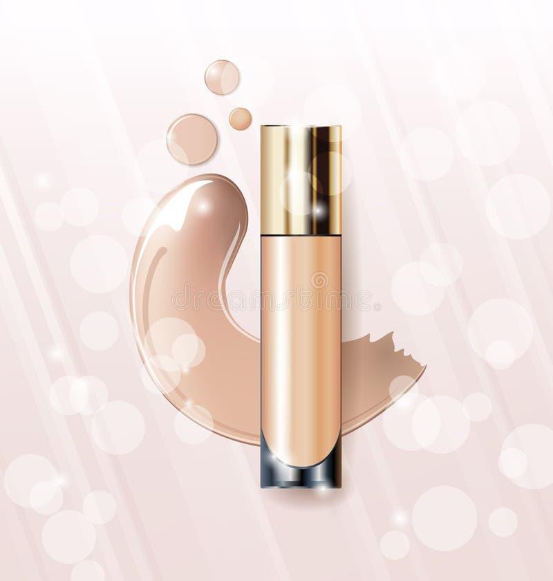 Kosmetisk produkt, fundament, täckstift, kräm Kosmetisk produkt, täckstift, korrigerings, kräm vektor vektor illustrationer