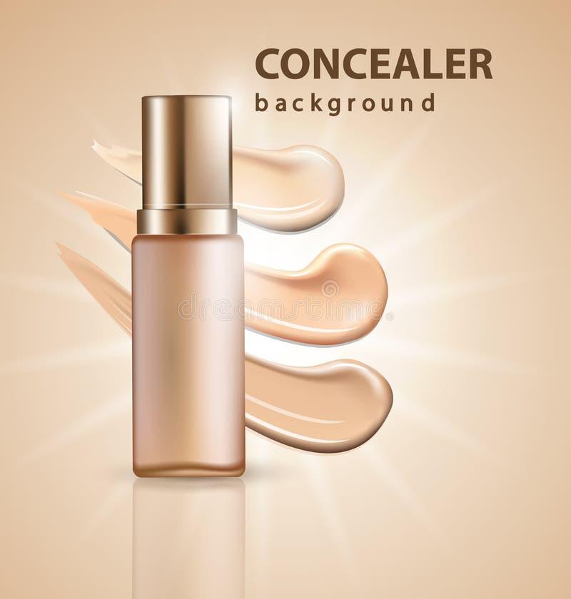 Kosmetisk produkt, fundament, täckstift, kräm med suddslaglängder Mallvektor royaltyfri illustrationer