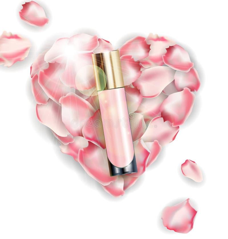 Kosmetisk produkt, fundament, täckstift, kräm på bakgrunden av hjärta av rosa färgroskronblad vektor vektor illustrationer