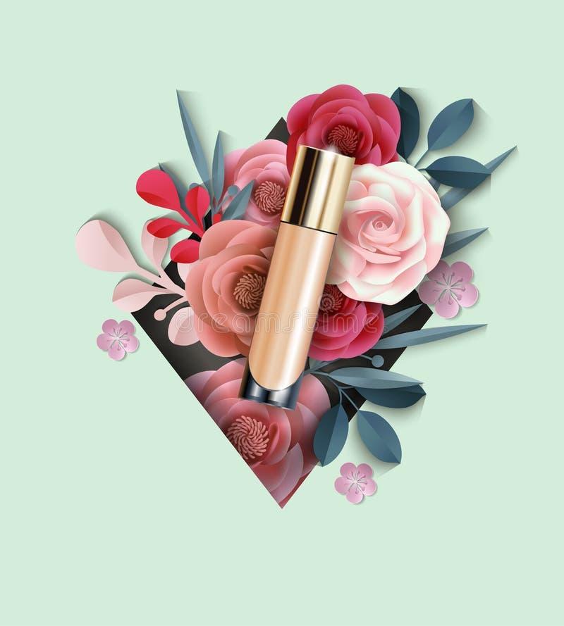 Kosmetisk produkt, fundament, täckstift på bakgrunden av härliga pappers- blommor Skönhet och skönhetsmedelbakgrund vektor illustrationer