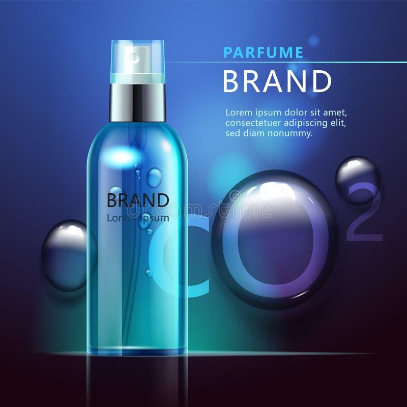 Kosmetisk produktannons, genomskinlig flaska med blå flytande stock illustrationer