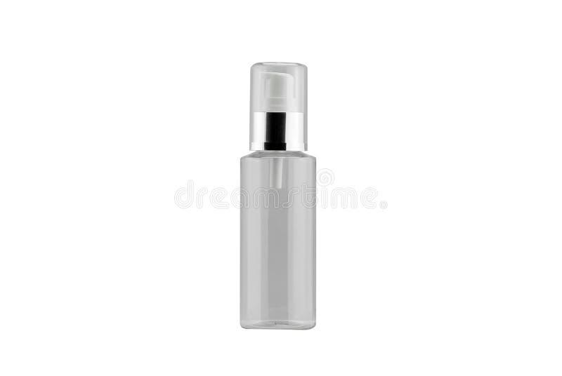 Kosmetisk pumpflaskbehållare som isoleras på vit bakgrund royaltyfria bilder