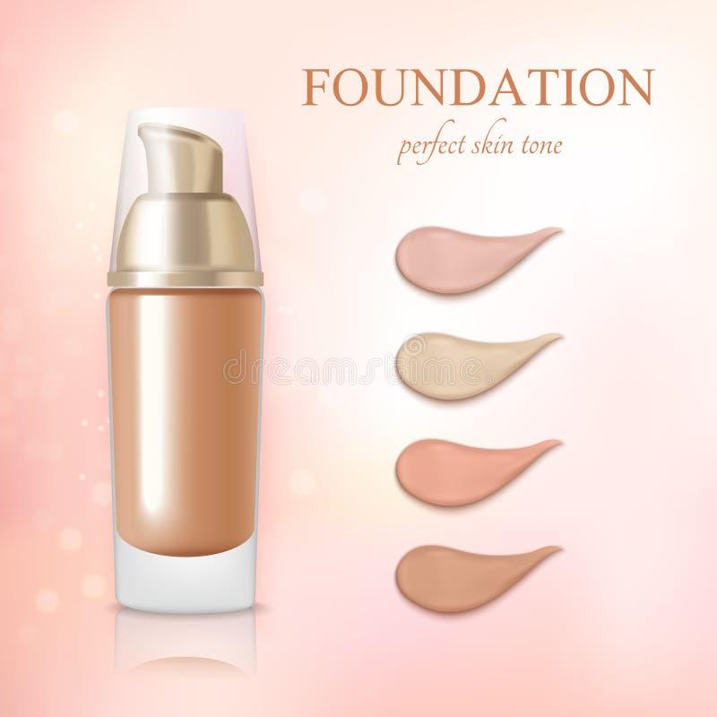 Kosmetisk realistisk fundamenttäckstiftkräm stock illustrationer