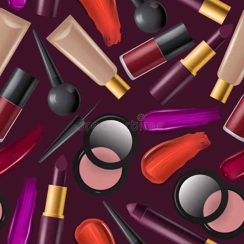 Kosmetisk sömlös modellvektorskönhet utgör cosmetology för härlig kvinna med makeupfundamentpulver eller royaltyfri illustrationer