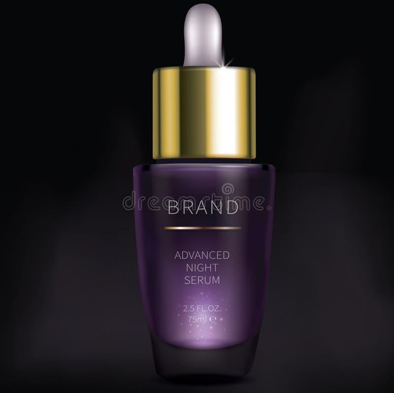 Kosmetisk serum för natt för framsidahudomsorg royaltyfri illustrationer
