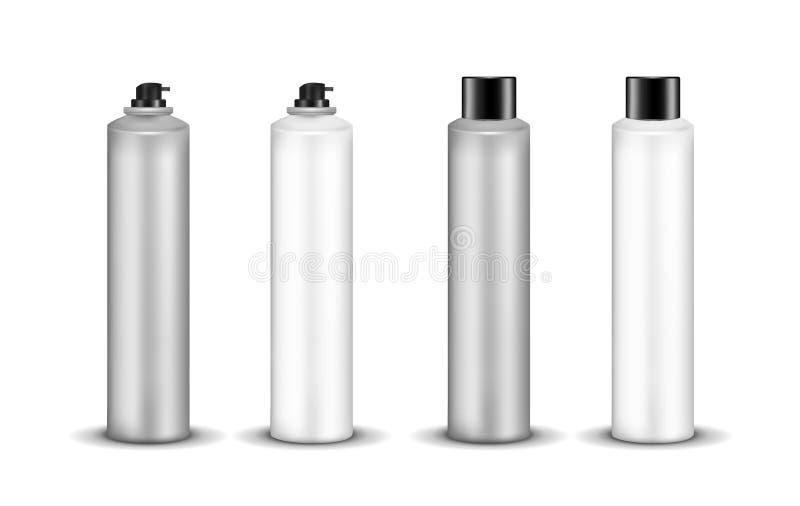 Kosmetisk sprejflaska för plast- eller för metall med locket royaltyfri illustrationer