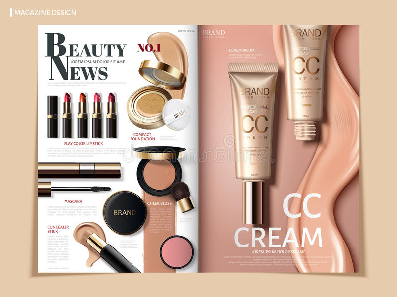 Kosmetisk tidskriftdesign royaltyfri illustrationer
