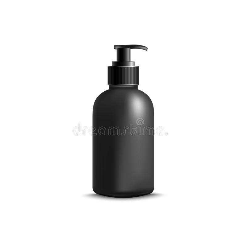 Kosmetisk tom svart flaska med för vektormodell för utmatare 3d illustrationen stock illustrationer