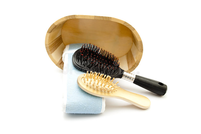 Kosmetisk torkduk med hårborsten arkivfoto